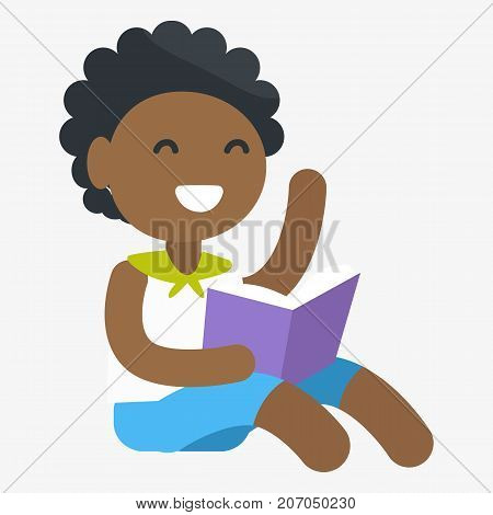 Enthusiastic African female child holding book in one hand. Vector graphic illustration of small girl getting information