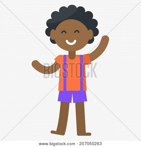 Smiling boy isolated vector illustration on white background. Afro-american kid celebrates international day of the african child