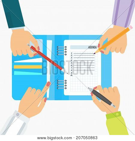 Businesswoman writes a daily routine. Schedule agenda and planning in management and administration. Flat vector cartoon character illustration. Objects isolated on a white background.