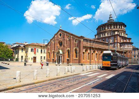 Church of Santa Maria delle Grazie in Milan, Italy. This church is famous for hosting Leonardo da Vinci masterpiece