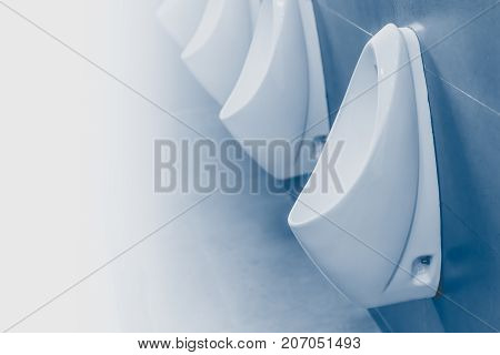 Men urinals clean in public toilet blue color tone with space for text
