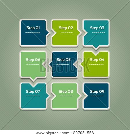 Vector progress background. Template for diagram graph presentation and chart. Business concept with 9 options parts steps or processes. Abstract background. eps 10