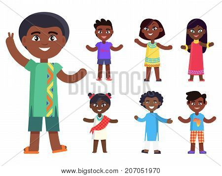 Cartoon afro-american boy wishes piece to everyone and his friends isolated vector illustrations set. Pretty kids with black skin, friendship concept