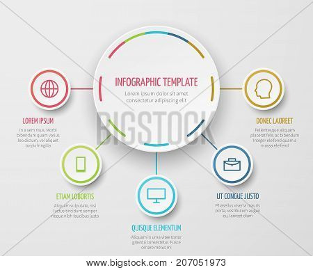 Round chart infographic with steps progress vector template for business report and analytical presentation. Chart step progress, report and presentation infographic illustration