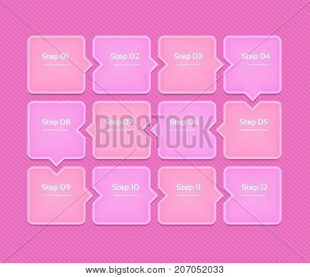 Vector progress background. Template for diagram graph presentation and chart. Business concept with 12 options parts steps or processes. Abstract background. eps 10
