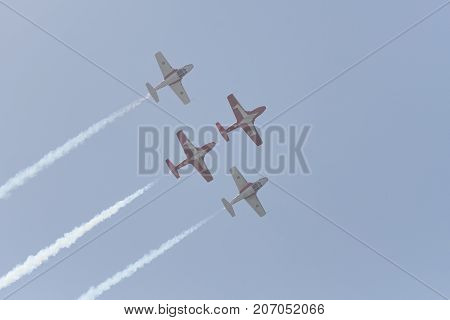 Canadian Forces Snowbirds Performing At The Huntington Beach Air Show.