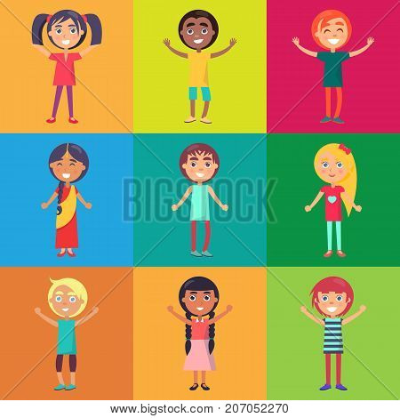 Active and happy kids from various countries moving on colorful background vector poster. Childhood celebrating time template