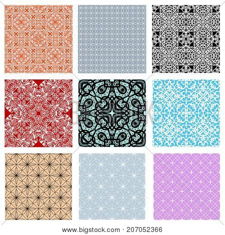 collection of lacy patterns. Lace seamless patterns on pastel background