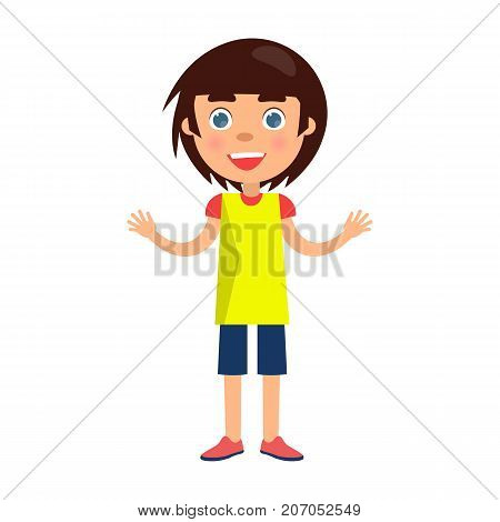 Boy with blue eyes wishes happy childrens day. Smiling cartoon female character greets children with international holiday