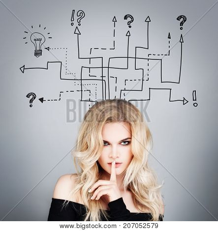 Beautiful Woman with a Bunch of Business Arrows Leading to Question Marks and a Light Bulb. Model with her Finger to her Lips in a Gesture for Silence and Secret