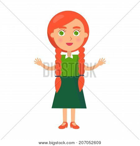 Little redhead girl with wide open arms isolated on white background. Poster dedicated to international holiday, national universal childrens day