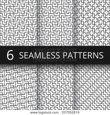 Simple geometric vector abstract seamless patterns. Monochrome geometrical wallpaper repeating prints. Set of seamless pattern monochrome geometric line illustration