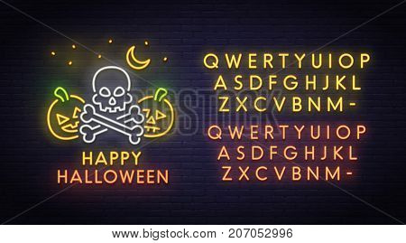 Skull and pumpkin neon sign, bright signboard, light banner. Halloween party logo, emblem. Neon sign creator. Neon text edit
