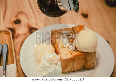 Honey Toast With Icecream Delicious Tasty Bread Sweet Dessert On Wood Table Vintage Color Tone