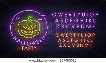 Halloween Pumpkin neon sign, bright signboard, light banner. Halloween party logo, emblem. Neon sign creator. Neon text edit