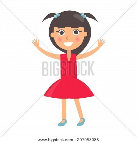 Brunette girl in red dress greets with happy childrens day isolated on white background. Smiling cartoon character wishes happy international holiday for kids