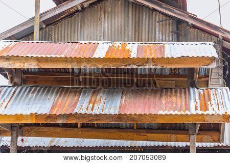 Old Vintage Rust Roof Wood Building Rusty Metal Zinc Sheet Texture
