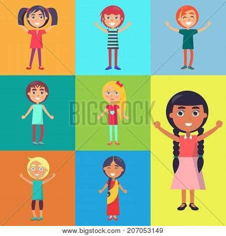 Cheerful kids on color greeting cards wishing happy childrens day. Vector illustration dedicated to international holiday for teens care