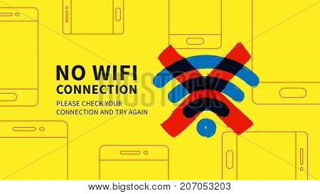 No wifi connection page vector illustration. Web page with no wi-fi connection error graphic design. Wide screen network error page creative concept.