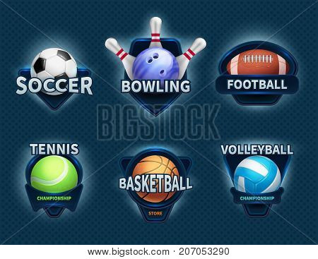 Sports balls vector labels and sport team emblems. Sport ball, championship college and tournament game illustration