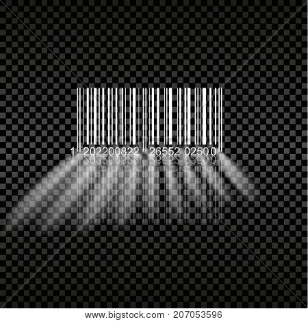 Barcode glow on a transparent background. Vector illustration.