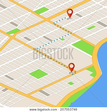 Isometric 3d map with location pins. Gps navigation vector background. Route on 3d map navigator, gps location on street illustration