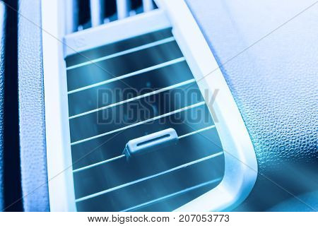 Car Air Conditioner Close Up Air Grill Air Ventilation With Cool Fresh Air Blowing Out