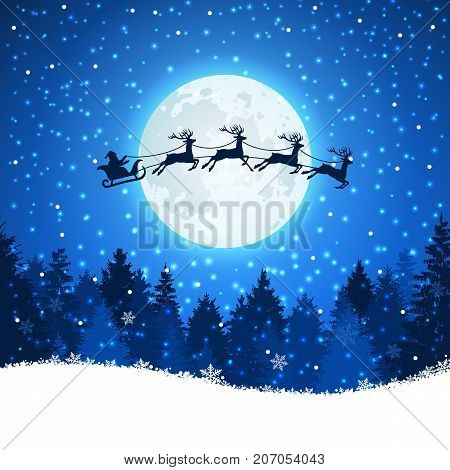 Christmas background with Santa and deers flying on the sky. Xmas concept reindeer and santa claus illustration