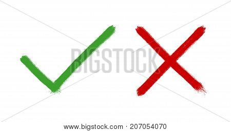 Check mark in circle, brush draw style, vector illustration
