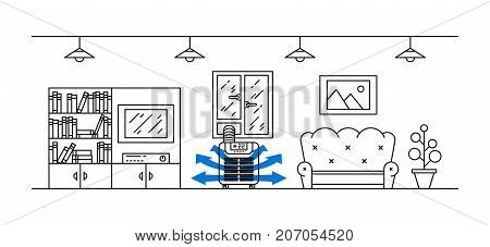 Domestic floor air conditioner vector illustration. Living room with floor portable air conditioner appliance line art concept.