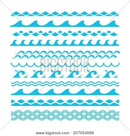 Vector decorative blue sea waves. Water marine symbols set. Wave marine and ocean wave line illustration