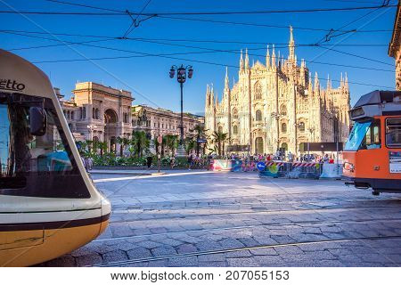 Milan Cathedral, Piazza del Duomo at night, Lombardia, Italy on July 21, 2017