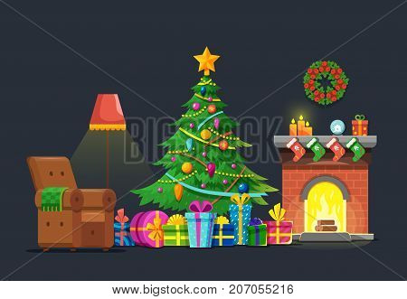 Cartoon living room with xmas tree and fireplace. Christmas holiday vector flat concept. Christmas fireplace interior, xmas in living room with furniture and green tree illustration