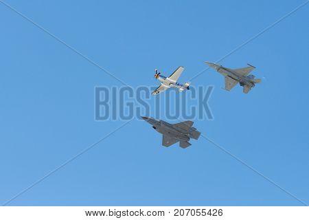 F-16 Viper, F-35 F-35A Lightning Ii , P-51 Mustang Performing At The Huntington Beach Air Show.