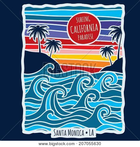 Vintage summer california surfing t shirt print design vector illustration. T-shirt with beach and palm tropical