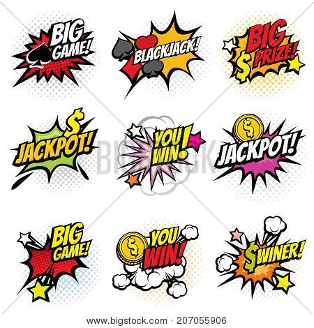 Vector winning game bubble stickers in retro pop art comic style. Explosion bubble winner comic speech. Vector illustration