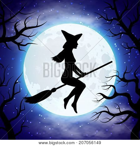 Silhouette of witch flying on the broom in Halloween night. Halloween witch on broom. Vector illustration