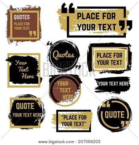 Quotes speech bubbles with frames and distressed rough brush texture vector set. Quotation speech distress frame, grunge bubble brush stroke illustration