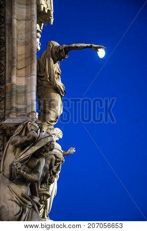 Detail of Milan Cathedral, Piazza del Duomo at night, Lombardia, Italy
