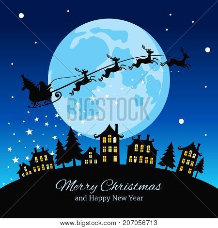 Christmas greeting card with santa and deers flying sky over city vector illustration. Santa and reindeer in night sky