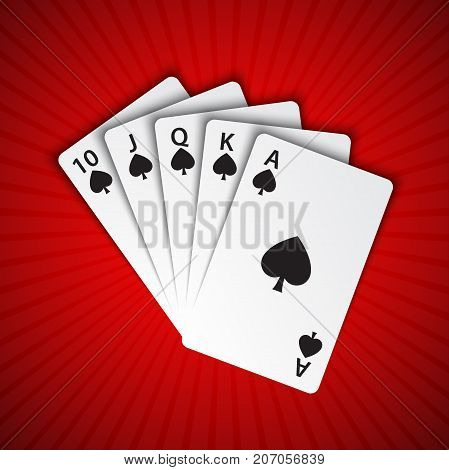 A royal flush of spades on red background winning hands of poker cards casino playing cards