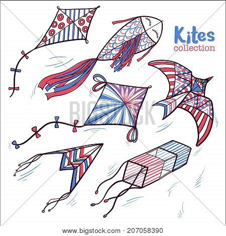 Set of hand drawn sketch style kites hovering in the sky, vector illustration isolated on white background. Sketch, doodle style kites decorated with pattern ornaments, hand drawn marker illustration