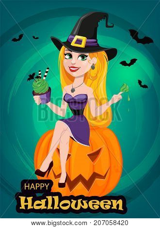 Halloween greeting card. Beautiful lady witch wearing pilgrim hat sitting on pumpkin and eating cake. Cartoon character on bright background with bats. Vector stock