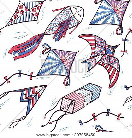 Seamless pattern of hand drawn sketch, doodle style kites hovering in the sky, vector illustration on white background. Sketch, doodle style kites decorated with ornaments, hand drawn seamless pattern