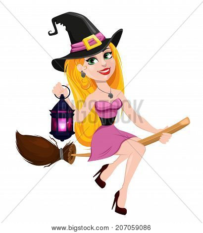 Halloween greeting card. Beautiful lady witch flying on broom and holding lamp. Cartoon character on white background. Vector stock
