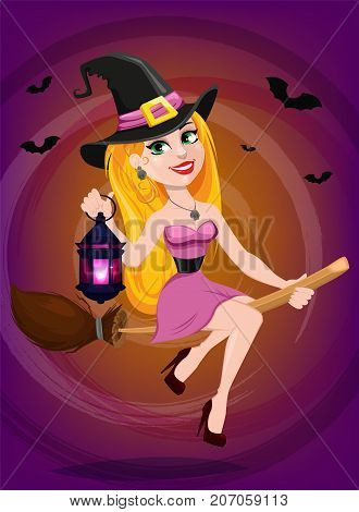 Halloween greeting card. Beautiful lady witch flying on broom and holding lamp. Cartoon character on bright background. Vector stock.