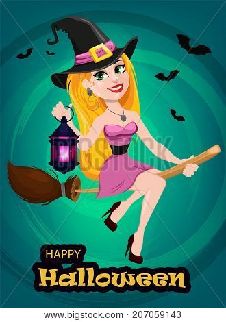 Halloween greeting card or invitation. Beautiful lady witch flying on broom and holding lamp. Cartoon character on bright green background. Vector stock.