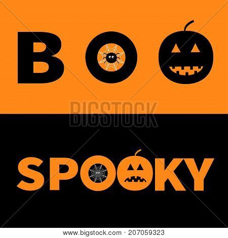 Word BOO SPOOKY text with smiling sad black pumpkin silhouette. Spider net insect. Round cobweb Banner lettering set. Happy Halloween. Greeting card. Flat design. Orange background Vector illustration