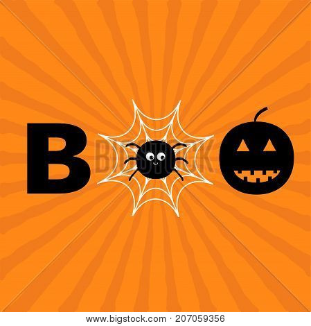 Word BOO text with smiling sad black pumpkin silhouette. Spider net insect. Round cobweb. Happy Halloween. Greeting card. Flat design. Orange starburst sunburst background. Vector illustration