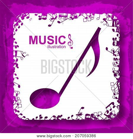 Sound abstract concept with purple musical note white square and musical icons isolated vector illustration